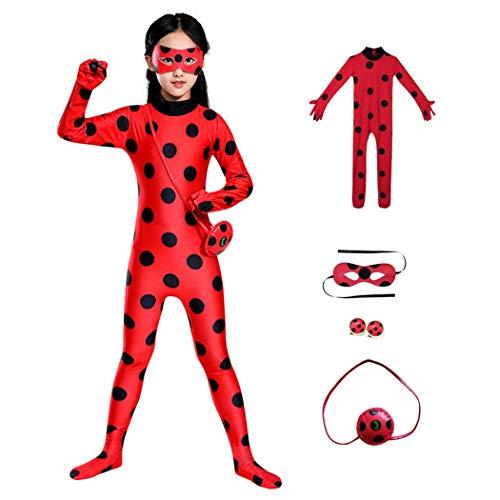 KLCH Disfraz de Ladybug para niña, con clip para los oídos, bolsa y máscara, mono para niños, para carnaval, talla L (134/140)