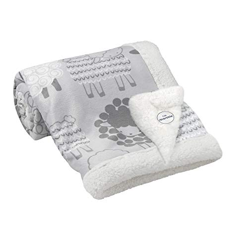 Lambs & Ivy Little Sheep Gray/White Luxury Minky and Sherpa Baby Blanket