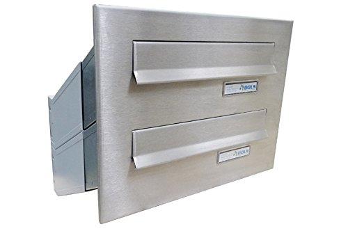 D-041 2er Edelstahl Mauerdurchwurf Briefkastenanlage mit Namensschild (Tiefe: 23-38 cm) - LETTERBOX24.de