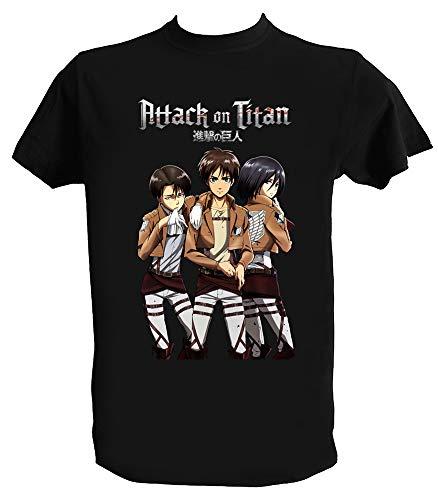 Camiseta Ataque a Los Titanes Hombre Niño Negra Attack on Titan Eren Jaeger Anime Manga, Niño 12-14 Años