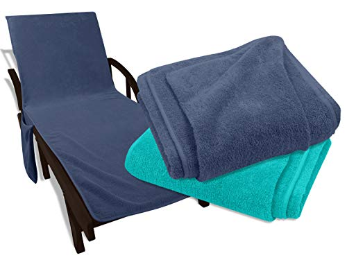 npluseins Liegestuhl Auflage - Frottee Schonbezug für Gartenliegen BW 1527.2210, Gartenliege ca. 60 x 190 cm, blau