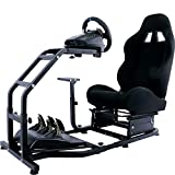 Marada Racing Simulator Cockpit Adjustable with Pedals Mounting Platform for Logitech G25 G27 G29 G920 with Black Seat Steering Simulator Cockpit Steering Wheel Pedals not Included