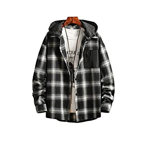 Men's Plaid Hooded Shirts Casual Long Sleeve Lightweight Snap-On Shirt Jackets