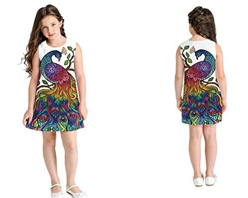 LAJIFENLEI Vestido Casual para niña, Multicolor, sin Mangas, línea A, Falda de Verano, Ropa de Juego, Pavo Real, 10-11 Años