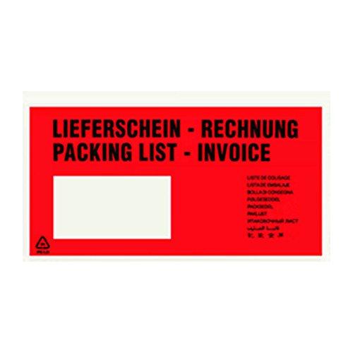 250 Lieferscheintaschen DIN Lang Rot Rechnung/Lieferschein bedruckt
