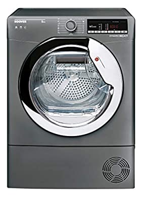 Hoover DXOC8TCER Freestanding Condenser Tumble Dryer with Aquavsion, WiFi Connected, 8Kg, Graphite, Decibel rating: 69, EU Acoustic Class: C