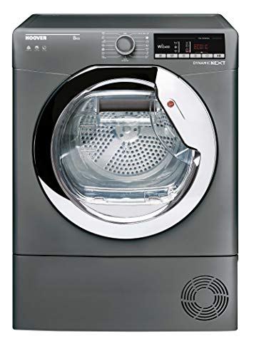 Hoover DXOC8TCER Freestanding Condenser Tumble Dryer with Aquavsion, WiFi Connected, 8Kg, Graphite