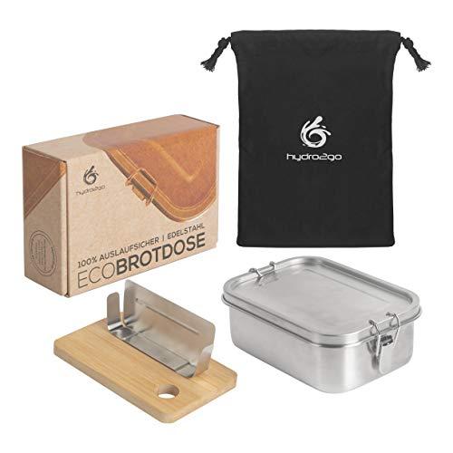 hydro2go® | NEU | Auslaufsichere Edelstahl Brotdose als innovatives Set. BPA- und plastikfreie Lunchbox mit Trennwand, Schneidebrett und Naturbaumwollbeutel. Für Kinder und Erwachsene. (800 ml)