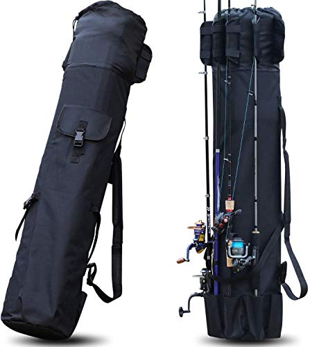 Sougayilang - Borsa per canna da pesca, in tela, per canne da pesca, per viaggi, regalo per padre, fidanzato e famiglia, colore: nero