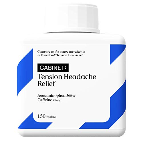 Cabinet Tension Headache Relief   150 Tablets   Acetaminophen 500mg, Caffeine 65mg   Aspirin Free with Caffeine, Relieve Head, Shoulder, and Neck Pain, Comparable to Excedrin