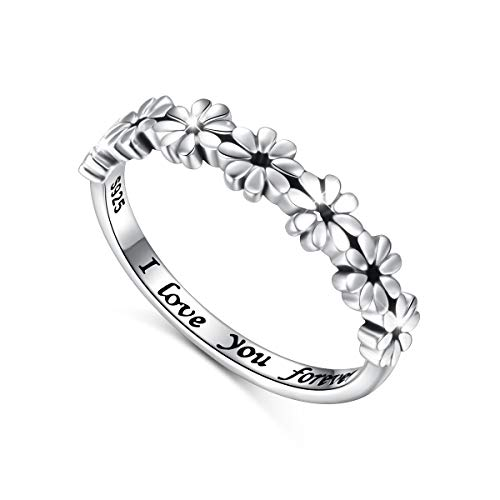 925 Sterling Silver Ring Daisy Flower Hawaiian I Love You Forever Tarnish Resistant Comfort Fit Wedding Band Ring 6