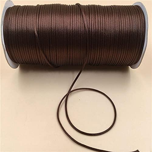 WEDSA 10M/lote trenzado de macramé de seda de macramé de cuerda de hilo de alambre de 2 mm DIY nudo chino pulseras de satén haciendo los hallazgos Beading-Coffee 738