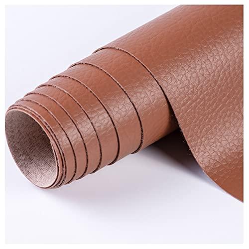 NIUFHW Tela De Cuero Sintética para Artesanía Tela De Cuero De PU De Costura DIY 140 X 50 Cm Decoración del Hogar Decoración De Pared Sofá Tela(Color:marrón)