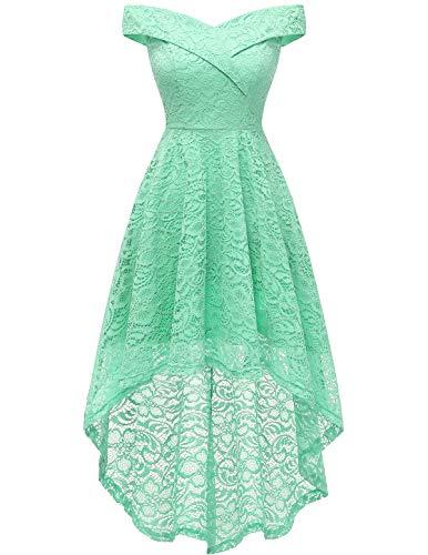 HomRain Midi Elegant Hochzeit Spitzenkleid Rockabilly Kleid Cocktail Abendkleider Floral Kleid für Hochzeit Mint M