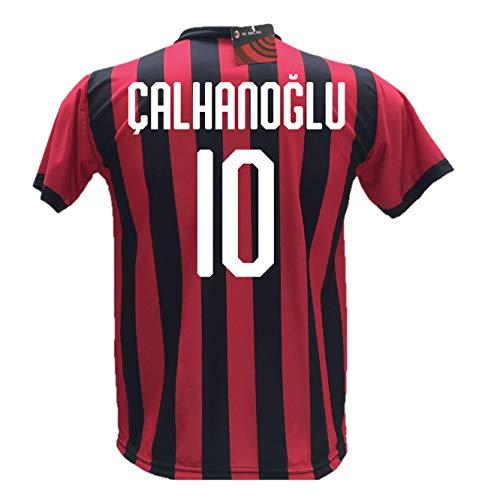 A.C. Milan - Camiseta del A.C. Milan con dorsal de Çalhanoğlu, réplica autorizada 2017-2018, para niño (tallas 2, 4, 6, 8, 10 y 12) y adulto (tallas S, M, L y XL)
