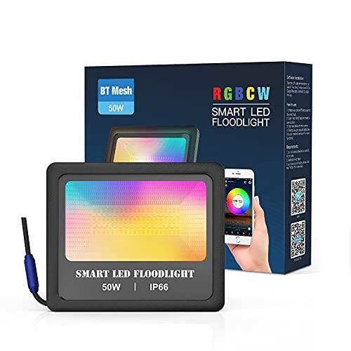 WRQING 50W RGB Foco LED Bluetooth, Foco de Colores Controlado por APP, IP66 Impermeable Proyector de Exterior para Decoración de Jardín, Parque, Fiesta [Clase de eficiencia energética A++]