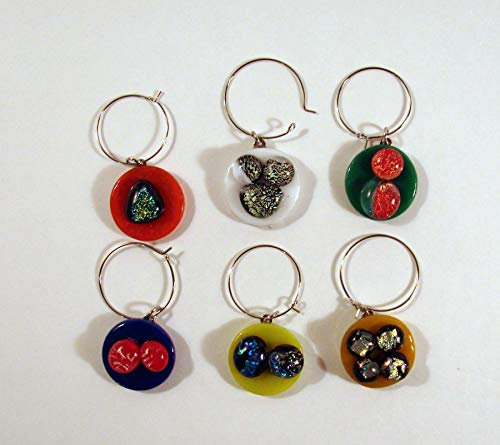 Handmade Multicolored Fused Glass Wine Glass Charms Set of 6