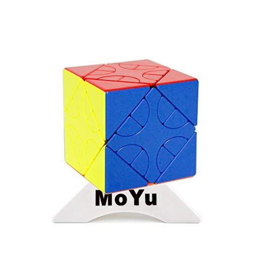 Oostifun MoYu MoFang JiaoShi Meilong HunYuan Cubo Giratorio Oblicuo HunYuan Skewb Puzzles Cubo Multicolor con un trípode de Cubo (Style-2)