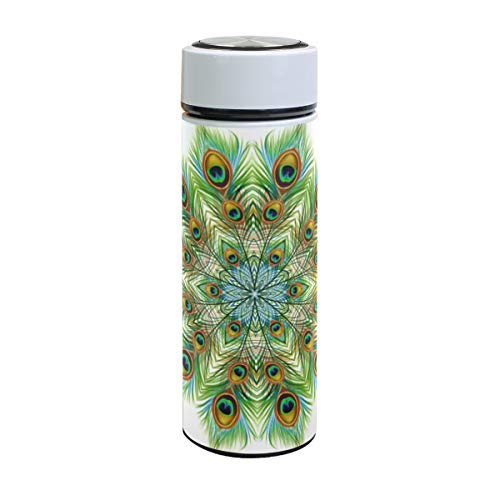 Emoya Botella de agua de acero inoxidable, 500 ml, colorida pluma de pavo real mandala floral aislada al vacío, sin BPA, a prueba de fugas, doble pared, boca ancha para bebidas calientes y frías, 17 onzas