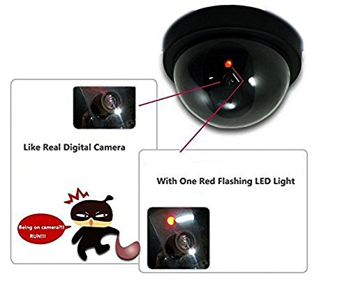 WALI Dummy Fake Security CCTV Dome Camera with Flashing Red LED Light With Security Alert Sticker Decals (SD-1), Black