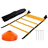 Tebery Agility - Escalera de velocidad (7 m, 13 hilos, 10 conos y 4 estacas con bolsa de transporte)