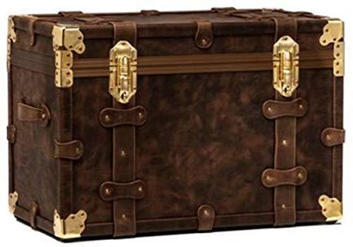 Casa Padrino Echtleder Koffer Dunkelbraun/Gold 80 x 57 x H. 56 cm - wasserdichte Vintage Stil Koffer Truhe Qualität