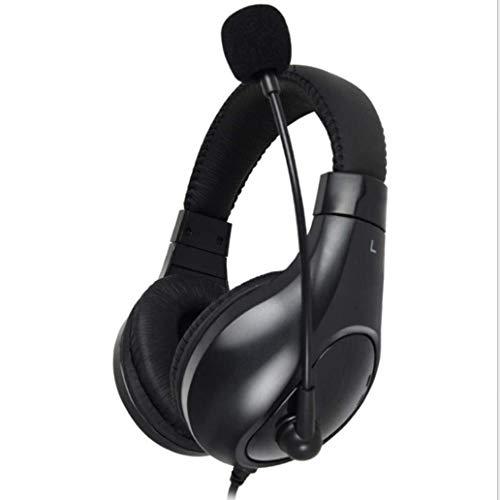 KK Zachary Ajustable del Auricular del Juego Estéreo De 3,5 Mm Audio Jack De Conexión De Cable sobre-Oído del Juego De Auriculares con Micrófono (Color : Black)