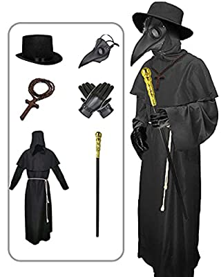 Nicexx Plague Doctor Mask Costumes Set 6 in 1 Halloween Beak Mask Plague Dr Outfit for Adults (Dark Black) by