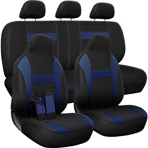 Motorup America Auto Seat Cover Complete Set - Fits Select Vehicles Car Truck Van SUV - Blue Black