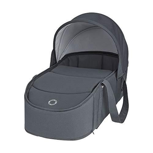 Maxi-Cosi Laika Capazo blando ligero y plebagle compacto, alcochado para el comfort del bebé, compatible con el cochecito Laika 2, color essential graphite