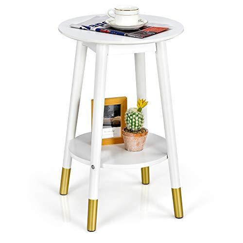 COSTWAY runde Beistelltisch mit 2 Ebene, Sofatisch Kaffetisch Holz, Nachttisch mit Ablage, Telefontisch Seitentisch für Wohnzimmer Balkon Schlafzimmer, Weiß