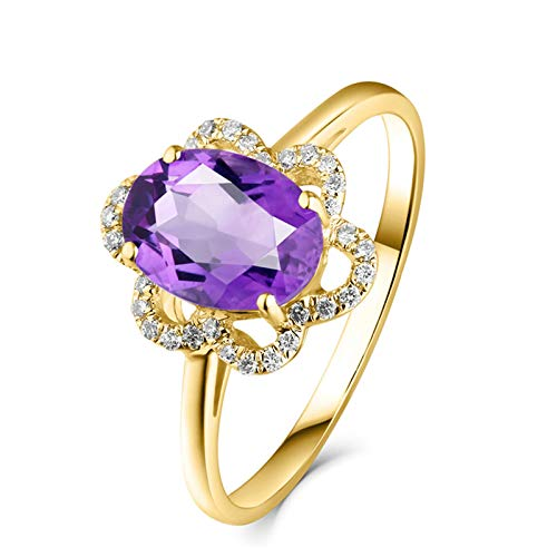 Daesar Ringe 750 Gelbgold Frauen Blume mit Oval Amethyst 1.21ct Verlobungsring Gold Ring mit Diamant 45 (14.3)