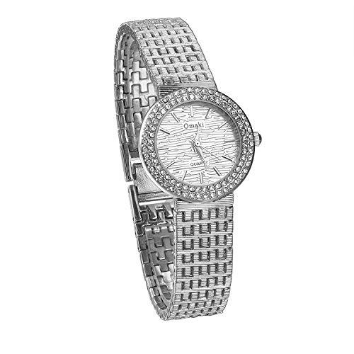 JewelryWe Montre pour femme avec strass, bracelet en acier inoxydable, couleur or et argent, à la mode, cadeau Bracelet argent