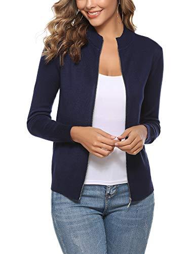 Aibrou Pull Cardigan Long Femme Sweatshirt Cardigan Manteau Blouson Grande Taille Tunique Long Mode Gilets Lâche Chandail en Tricot Outwear,Bleu Marine,XL