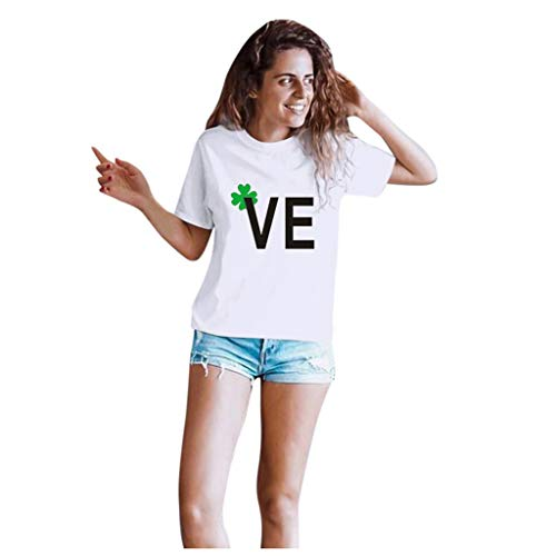 Dasongff T-shirt Klee Partner Look Paar T-shirt St. Patricks Day korte mouwen kostuum basic casual thee bovenstuk top blouses X-Large wit/dames.