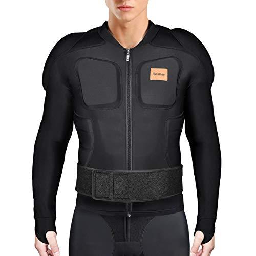 BenKen Chemise Protectrice Équipement Protection pour Ski Snowboard Moto Enduro, Veste de Protection Réglable Homme Femme(Long sleeve)