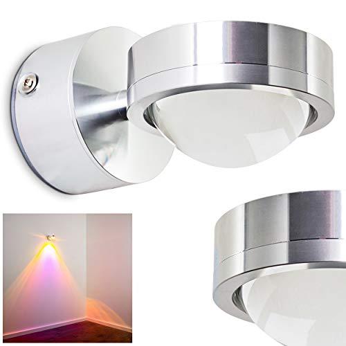 LED Wandlampe Indore, runde Wandleuchte aus Metall und Glas in Aluminium, Wandspot 1-flammig mit Farbfliter in Magenta, 3 Watt, 300 Lumen, 3000 Kelvin (warmweiß)