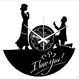 Instant Karma Clocks Orologio da Parete Idea Regalo SPOSI Nozze Matrimonio I Love You, Vinile, Nero