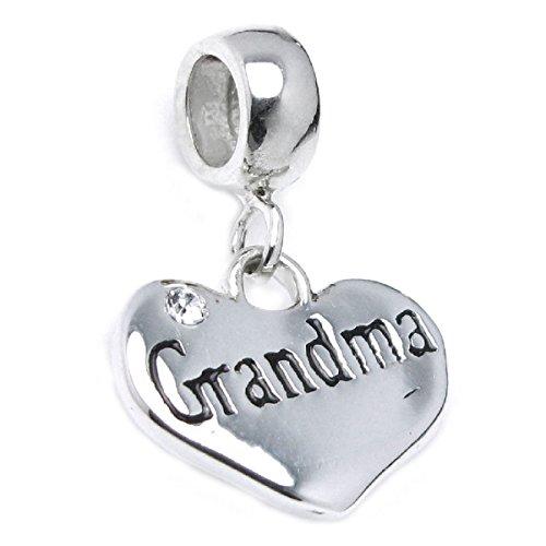 Queenberry Sterling Silver Grandma Love Heart Cubic Zirconia Crystal Dangle Bead for European Charm Bracelets