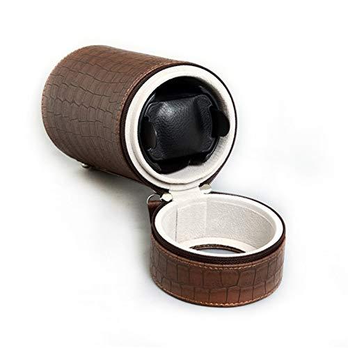 WERTYG Lujo Exhibición Automática del Enrollador del Reloj de La Sola Almohada De La Caja del Cilindro del Cuero De La PU 95 * 95 * 188 Mm (Color : Brown)