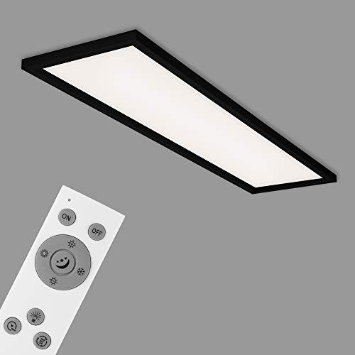 Briloner Leuchten - LED Deckenleuchte, Deckenlampe dimmbar, inkl. Fernbedienung, Farbtemperatursteuerung, Nachtlicht, Timer, 36 Watt, 3.800 Lumen, Weiß-Schwarz, 1.195x295x80mm (LxBxH)