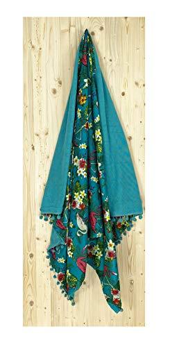 Tex family Kikoo - Toalla de playa doble flamenco de algodón y rizo con mochila Keep