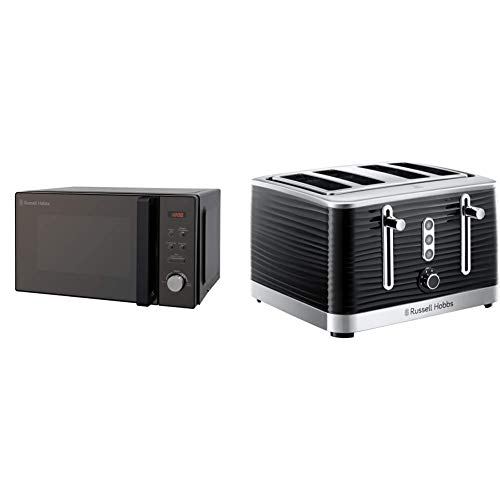 Russell Hobbs RHM2076B 20 Litre 800 W Black Digital Solo Microwave with 5 Power Levels & 24381 Inspire High Gloss Plastic Four Slice Toaster, Black