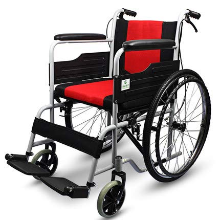 ZHAS Aluminiumlegierung Licht Transport Stuhl, verdickte Kissen Steel Tube Rollstuhl, Aluminiumlegierung älter Behinderte Hand drückt Tragbare Gehen Scooter, faltbaren Rollstuhl, Rot