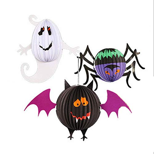 JMY Halloween Große Dreidimensionale Kugelförmige Fledermaus Geist Spinne Papier Laterne Dekoration Anhänger, Bar Anhänger Anhänger