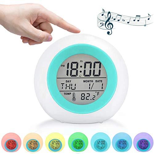Kids Digital Alarm Clock, Kids Alarm Clock 7 Colors Changing, Wake Up Digital Clock for Boys Girls, Snooze, Temperature Detect for Toddler - Best Gift for Kids