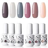 Y & S Vernis à ongles gel durable Soak Off Ensemble de 6couleurs Nail Art pour salon de manucure professionnel et utilisation à domicile