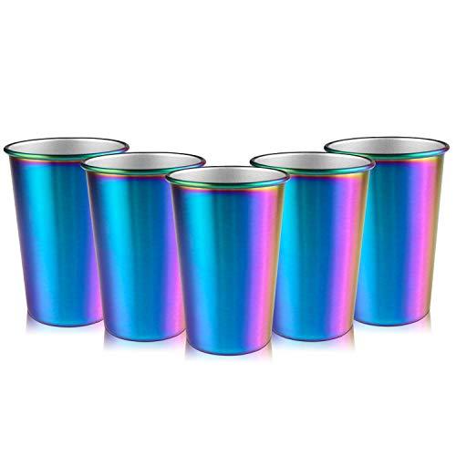 Baalaa Taza de acero para fiesta de arco iris, 16 onzas, 5 piezas de vaso de cerveza