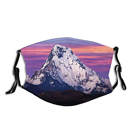 Reusable Half Bandanas M-Shaped Nose Clip,Himalayan Mountain in The Sunset Nature Photography Idyllic Composition Trekking,Breathable Sports Mouth Cover