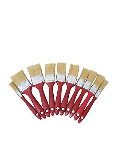 TIITAN Set de brochas de pintura.10 brochas planas de pintura para pared, madera i hierro. Con cerdas mixtas i mango ergonómico. Diferentes tamaños (50, 38, 25,13 mm)